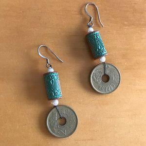 Artsy coin dangle earrings